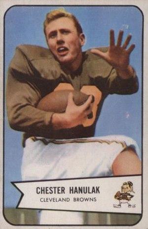 Chet Hanulak - Hanulak on a 1954 Bowman football card