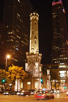 Chicago Water Tower by night.JPG