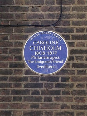 Caroline Chisholm - Plaque at 32 Charlton Place, Islington, London