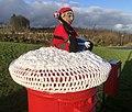 Christmas Crochet figure, Inverkip pillarbox 3.jpg