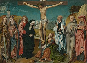 Christ on the cross with the Virgin, St John the Evangelist, Mary Magdalen, and Sts Cecilia and Barbara (left), and Sts Peter, Francis and Jerome (right)