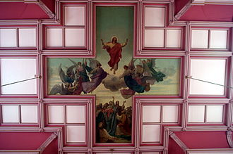"Church of the Immaculate Conception (Saint Mary-of-the-Woods, Indiana) - ""The Ascension"" mural painted on the church ceiling at the crossing."
