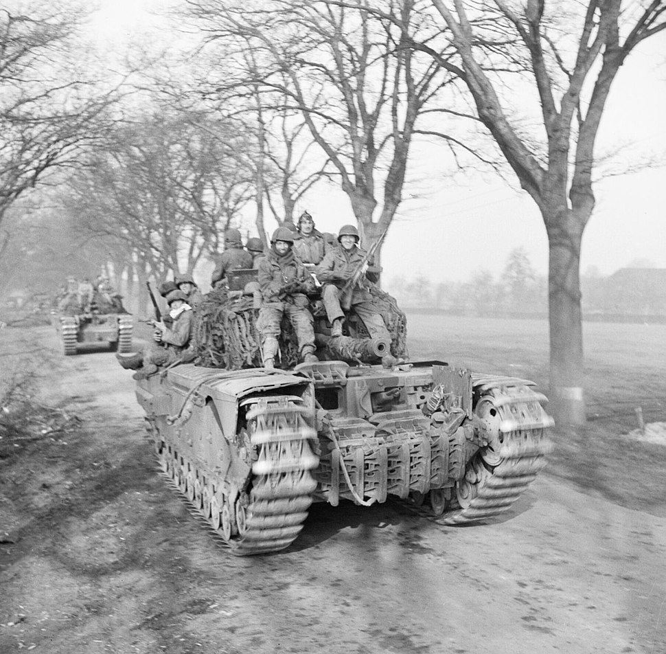 Churchill tanks of 6th Guards Tank Brigade carrying paratroopers of the 17th US Airborne Division, Germany, 29 March 1945. BU2737