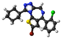 Ball-and-stick model of the ciclotizolam molecule
