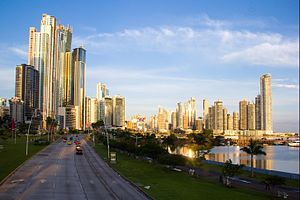 The Amazing Race 29 - The skyline of downtown Panama City, overlooking Cinta Costera, served as the viewpoint of the first Pit Stop of the Race.