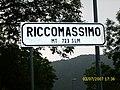 City entrance sign of Riccomassimo, Storo, Italy.jpg