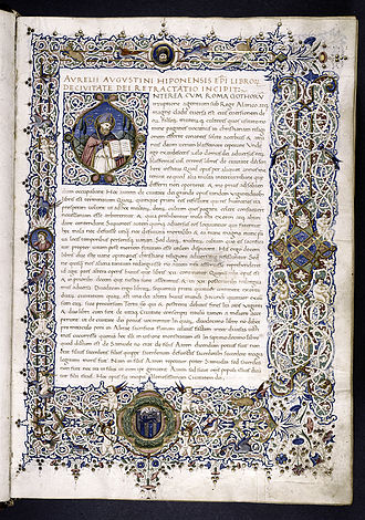The City of God - The City of God , opening text, manuscript c. 1470