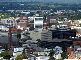 Passaic County, New Jersey - The Passaic County Court House and Administrative Building complex (center) for Passaic County is located in Downtown Paterson.