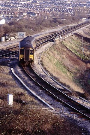 Wales & West - Image: Class 150 DMU 150276, joining Clifton Down line, Narroways Junction, Bristol, January 1994 Scans 906 (10708293005)