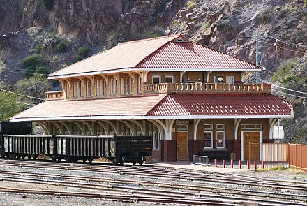 1901 Clifton railroad station, now used by the Chamber of Commerce and other community organizations. Clifton, AZ train station.jpg