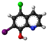 Ball-and-stick model of the clioquinol molecule