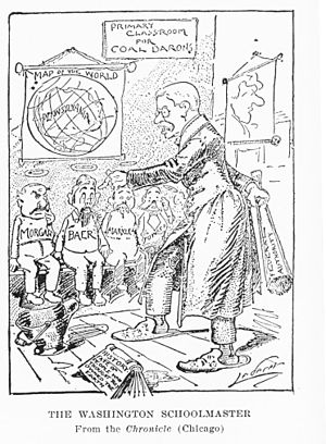 Coal strike of 1902 - Theodore Roosevelt teaches the childish coal barons a lesson; 1902 cartoon by Charles Lederer