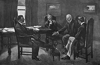 Coal strike of 1902 - Theodore Roosevelt and J.P. Morgan have a meeting where they agree on a resolution for the strike.