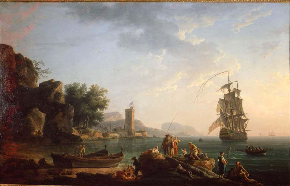 Coast scene with British man of war by Vernet