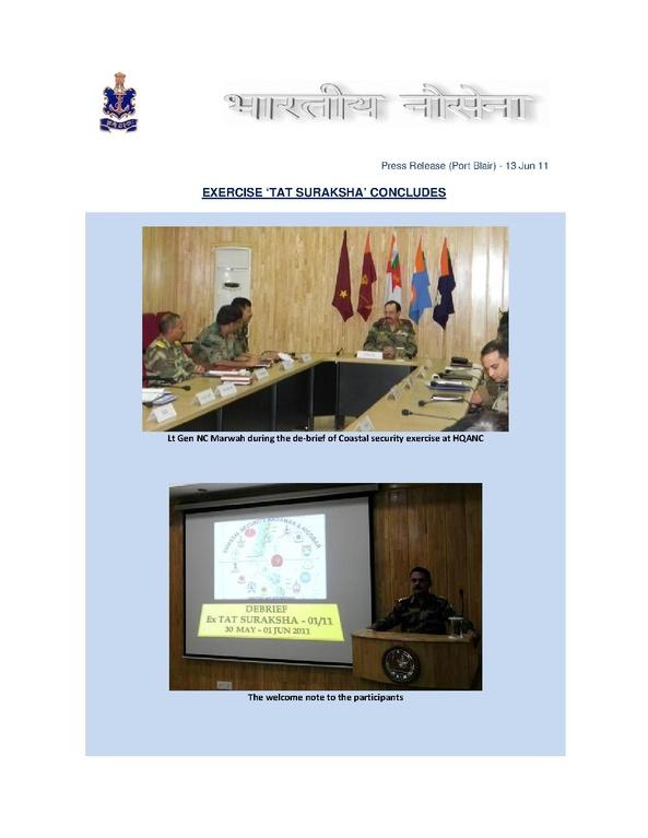 File Coastal Security Exercise Tat Suraksha Concludes In
