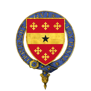 John de Beauchamp, 1st Baron Beauchamp de Warwick - Arms of Sir John de Beauchamp, 1st Baron Beauchamp KG -- gules, a fess between six cross crosslets or, a mullet for difference