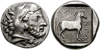 Amyntas III of Macedon - silver stater of Amyntas III