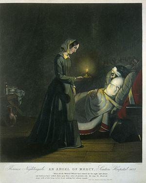 History of nursing - Florence Nightingale, an 'angel of mercy', set up her nursing school in 1860