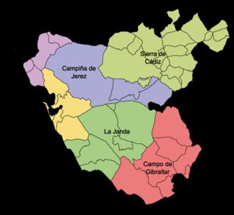 Comarcas of Spain - Comarcas of Cádiz