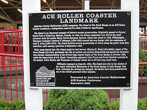 American Coaster Enthusiasts - An ACE Roller Coaster Landmark Award plaque located outside The Comet at Great Escape