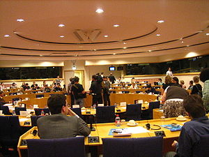 English: A Committee Room in the European Parl...