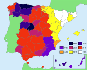 Spanish naming customs - Image: Concentracion apellidos por provincias España