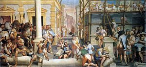 Genoese colonies - 'Construction of the warehouse of the Genoese in Trebizond'. Painting by Luca Cambiasi, c.1571, in the Palazzo Lercari-Parodi in Geneva