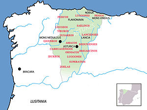 Leonese dialect - Conventus Asturum in the first century BC