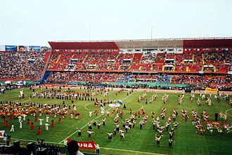 Estadio Nacional de Lima - Close up of the pitch in pre-match celebrations at the 2004 Copa America
