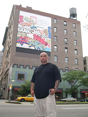 Cope2 - Cope2 in front of ''Time'' magazine billboard, Manhattan, New York