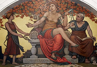 Political corruption - Detail from Corrupt Legislation (1896) by Elihu Vedder. Library of Congress Thomas Jefferson Building, Washington, D.C.