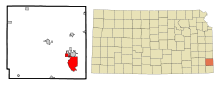 Crawford County Kansas Incorporated and Unincorporated areas Pittsburg Highlighted.svg