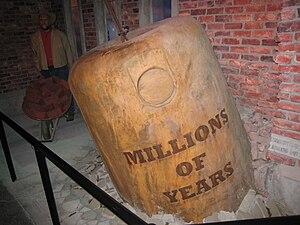 "English: A wrecking ball reading ""million..."