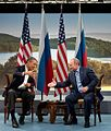 Cropped Barack Obama and Vladmir Putin shake hands at G8 summit, 2013.jpg