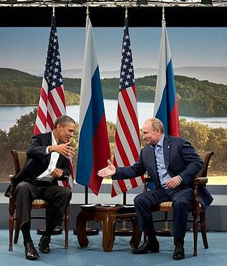 Putin and Obama shake hands at G8 summit, June 17, 2013 Cropped Barack Obama and Vladmir Putin shake hands at G8 summit, 2013.jpg
