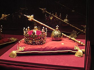 Polish Crown Jewels - Replicas of the Crown of Bolesław I the Brave, the royal orb and sceptre used for the coronation of Stanisław II August in 1764
