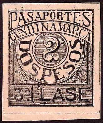 Revenue stamp - An 1899 passport tax stamp from Cundinamarca in Colombia