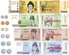 South Korean won banknotes and coins.