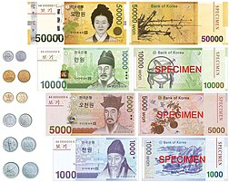 Currently circulating coins and banknotes of the South Korean won.