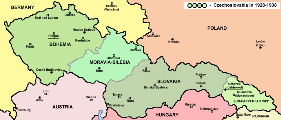 Location of Subcarpathian Rus'