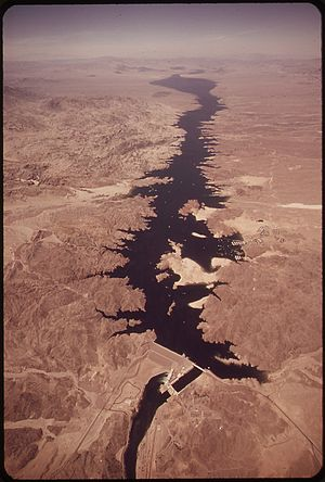 Davis Dam - Aerial view of Davis Dam and Lake Mohave.