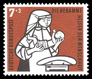 stamp series for the social welfare, midwife a...