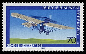 Johannisthal Air Field - West German stamp showing Hans Grade and his monoplane in 1909 at Johannisthal