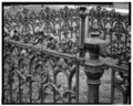 DETAIL VIEW OF CAST-IRON FENCE POST AND FENCE - Cold Spring Presbyterian Church, West side Seashore Road, Cold Spring, Cape May County, NJ HABS NJ,5-COLSP,1-8.tif