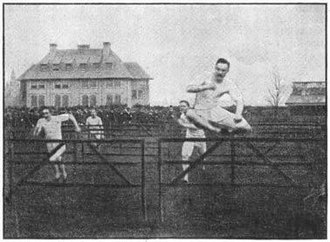 Track and field - An early model of hurdling at the Detroit Athletic Club in 1888