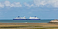 DFDS Dover Seaways and Delft Seaways meet earch other, estuary of the river Aa near Gravelines-7909.jpg