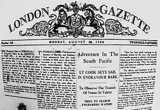 Dieu et mon droit - Historic usage - LONDON GAZETTE Monday August 26, 1768