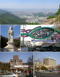 Top:View of Daegu, from Jisan-dong, Middle left:Buddha Statue in Donghwasa Temple, Middle right:Seomun Market, Bottom left:Kyungpook National University, Bottom right:Daegu City Office in Jung-gu
