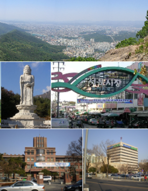 Daegu - Top:View of Daegu, from Jisan-dong, Middle left:Buddha Statue in Donghwasa Temple, Middle right:Seomun Market, Bottom left:Kyungpook National University, Bottom right:Daegu City Office in Jung-gu