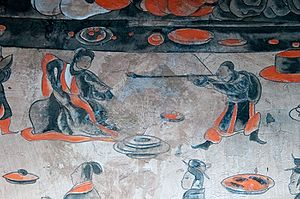 Feast at Hong Gate - Image: Dahuting mural detail of a dancer, Eastern Han Dynasty